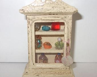 Dollhouse miniature vintage style bath cabinet
