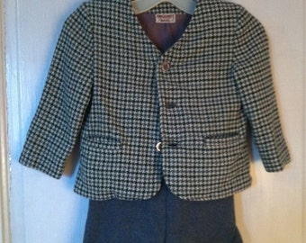 Wool Suit Coat Shorts Pants Toddler Boy Girl Size 3 Blue Grey Houndstooth Vintage 1950s