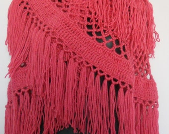 Red Triangle Crochet Shawl - Red Triangle Shawl - Red Tassel Shawl - Red Crochet Shawl - Women Red Crocheted Shawl - Light Red Shawl