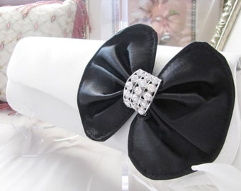 Antique Ivory  Bag  With Large Black Satin Bow Wedding Bridal Bag Clutch Formal Wear