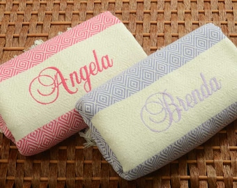 Set of 2 Personalized Handwoven Turkish Towel Lavender&Pink Diamond COTTON PESHTEMAL - Monogrammed Embroidered