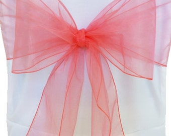 Organza Chair Sashes    Coral  8 X 108  Wedding Birthdays corporate Events  Pew Bows Ships flat