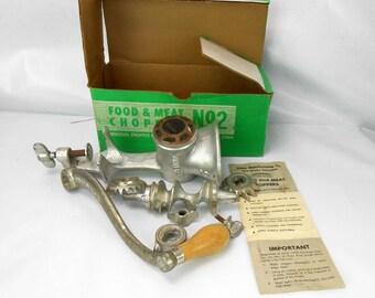Vintage food grinder  Universal food  and meat chopper no 1  cast aluminum kitchen tool hand crank kitched grinder