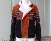 Mens Size Medium VIP Collection Unique Suede Leather Aztec Native Ethnic Navajo Tribal Boho Hobo Jacket Coat Winter Parka Varsity Letterman