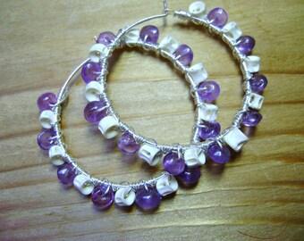 Slightly Macabre Fish Vertebra and Purple Amethyst Wire Wrapped Hoop Earrings