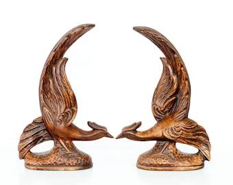Vintage ceramic birds, pair of brown painted pheasants or roadrunners