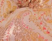 Vintage Cheongsam Sheath Dress Gold Metallic Damask Cherry Blossom Pattern  1950s Small