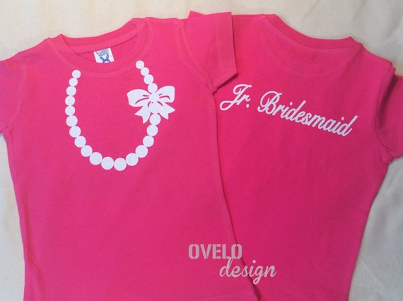 Jr. Bridesmaid T-shirt on Back Pearl Necklace on Front