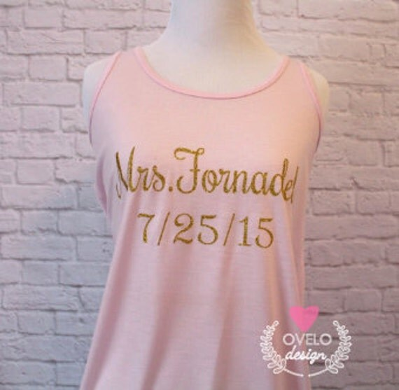 Personalized Custom  Bridal Tank Top Flowy Racerback Tank Printed in Gold Sparkle Glitter!