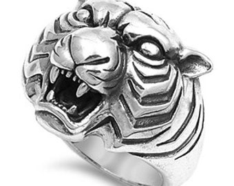 Tiger Ring, Gift For Him, Gift For Boyfriend, Mens Ring, popular Item,Tiger Head,Gift For Husband,Silver Tiger Ring, Mens Gift, Mens Jewelry