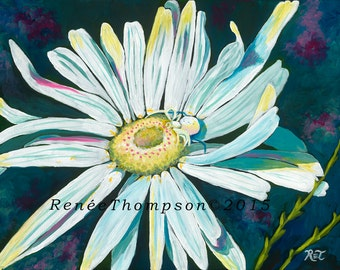 "Friendship 8"" by 10"" PRINT - garden art, insect art, white and black, white flower painting, spider art, daisy painting"