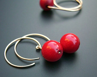 Fiery red coral drop earrings with gold, boho hippie, red bamboo coral geometric hipster earrings, gold hoop, artisan earrings  - Red dots