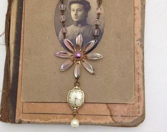 Flower Brooch Necklace Vintage Watch Necklace Pearl Vintage Necklace Repurpose Necklace