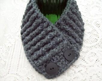 Scarf Scarflette Cowl Neck Warmer Womens Teens Charcoal Gray Boutique Crochet Pre Season Sale