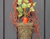 "Spring Summer Wreath Kitchen Door Basket Wall Pocket Wreath Decor..""Garden Carrot"" Orange Carrot Spanish Moss Indoor Outdoor Decoration"