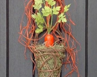 """Spring Summer Wreath Kitchen Door Basket Wall Pocket Wreath Decor..""""Garden Carrot"""" Orange Carrot Spanish Moss Indoor Outdoor Decoration"""