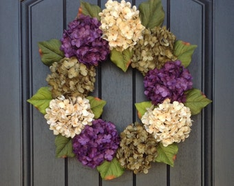 Hydrangea Fall Wreath Summer Wreath Grapevine Door Wreath Decor Green Purple Cream Hydrangea Floral Door Decoration Indoor Outdoor Decor