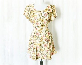 Vintage 90s Yellow Tea Floral Mini Dress L Lace Collar Belted Upcycled