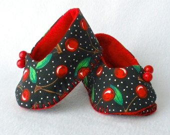 Baby Shoes, Hand Sewn Booties, Red and Black Cherry Print,  Girls Hand Stitched Cotton Booties,  Cherries Jubilee