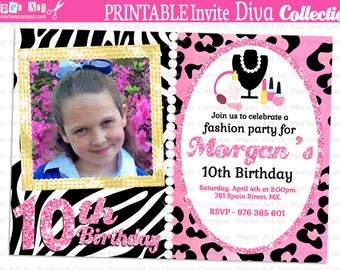 Invitation printable - Diva Birthday Party, Animal Print party, 1st Birthday, Party decoration, girls birthday, Printable | PERSONALIZED
