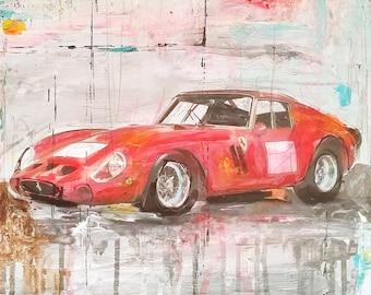 Art Painting mixed media Car  Legends Ferrari GTO 250 Drawing  Abstract Painting  Wall Decor Home Decor  Decorative Arts   Gift Ideas