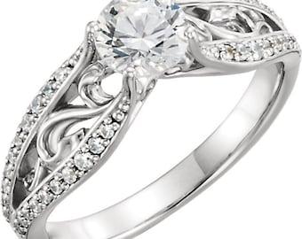 1.00 ct   6.50mm Forever Round Brilliant Moissanite 14K White Gold Antique Style  Engagement Ring ST233143