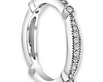 14K White / Yellow / Rose  Gold  Natural Round Diamond Wedding Half Eternity Band  Aniversary Ring ENS4137
