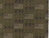 Because Of The Brave, Flag, Army Green, Moda Fabric, 1/2 Yard