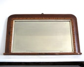 Wood Framed Mirror - Wall Hanging Mirror - Inlaid Antique Mirrors - Rectangle Bathroom Mirror