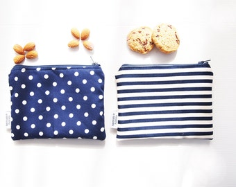 Zippered Snack Bags with Food-Safe Nylon Lining - White Dots On Blue/Black & White Stripes