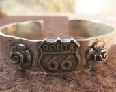 Sterling Silver Artisan Route 66 Cowgirl Cuff Bracelet