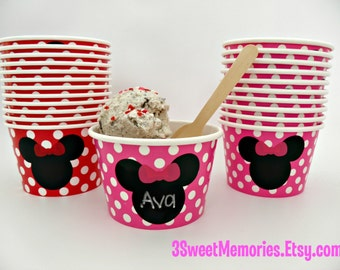 8oz Minnie or Mickey Polka Dot Paper Ice Cream Cups