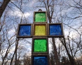 Small Multicolor Cross stained glass. ,Sun Catcher: blue,green, yellow.Religion. Christianity. home decor. Office decor. gift  home or car