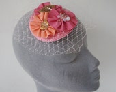 Pink Fascinator - Pink Fascinator with Ribbon Rosettes, Beading and Veiling