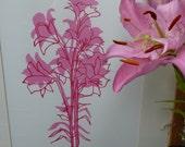 Florentine Lilies, original hand screenprint, ***RESERVED FOR ORIANA******