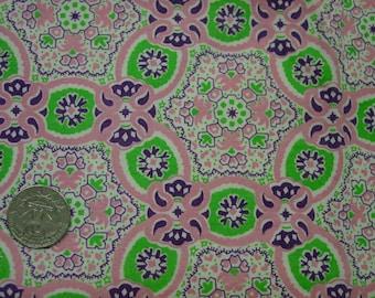 "Pretty Vintage Full Feedsack Fabric, Pink, Purple, Lime Green, 37 x 45"""