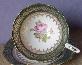 Vintage 1940's Pink Rose tea cup and saucer, Royal Stafford green and gold tea cup, English bone china tea cup, antique tea cup