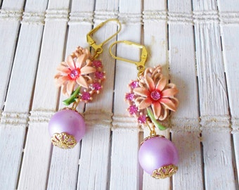 Pink Flower Earrings, Rhinestones & Lilac pearls, Eco Friendly, Upcycled Vintage, Retro chic
