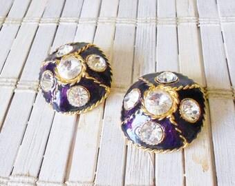 Big Vintage Rhinestone Clip Earrings Deep Purple Enamel Gilded Rope Design