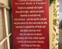 So God Made A Farmer - Extra Large Wood Sign - Great Christmas Gift