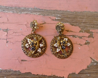 Victorian brass floral disc dangles with cupids beads romantic engagement earrings - Frida Kahlo drop 1.5""