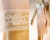 NWOT unworn silky soft really sheer baby pink nylon and delicate white lace detail 1950's vintage full slip petticoat - 3767
