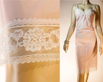 Unworn deadstock soft really sheer baby pink nylon and delicate white lace detail 1950's vintage full slip petticoat - 3520