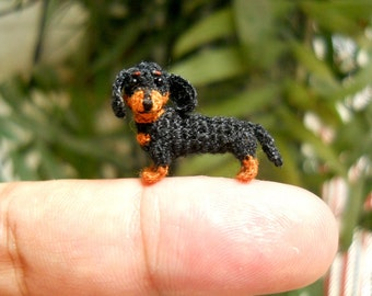 1 Inch Miniature Dachshund Sausage Dog Amigurumi - Tiny Crochet Black Brown Dog Dachshunds - Made To Order