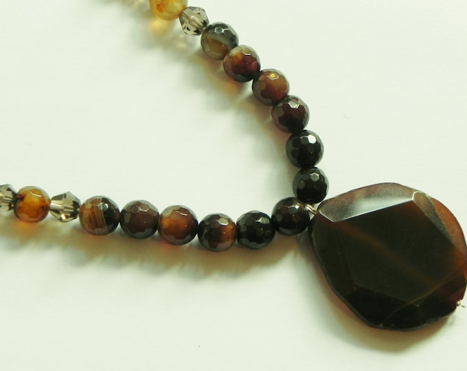 "Brown agate & smoky quartz gemstone necklace 21"" plus pendant, coffee, chocolate, brown gemstones."