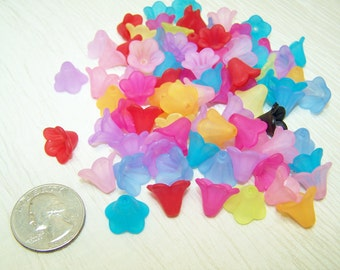 colorful acrylic frosted flower bead caps lot of 28