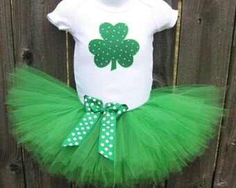 St Patrick's Day Tutu Set with Matching Headband | Shamrock Tutu Set | Newborn, Baby, Toddler Photo Prop