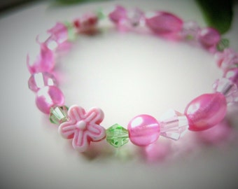 Girls Bracelet Pink and Green with Pink Flowers, Medium, GBM 172