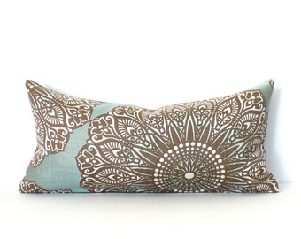 Lumbar Pillow Cover 10x20 Blue Brown Medallion Upholstery Fabric Oblong Decorative Pillow Accent Throw Pillow Cover