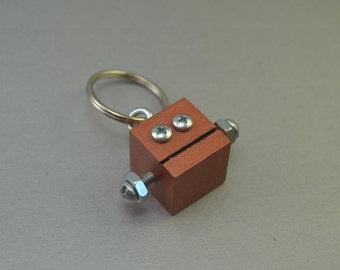Dark Copper Robot Key Chain, Zipper pull, Functional Art, Back to School